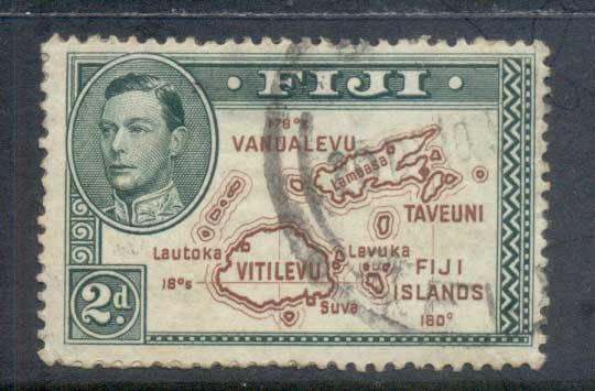 Fiji 1938-55 KGVI Pictorials, Map of Fiji Is 2d, with 180 deg. (adhesions, needs a soak)