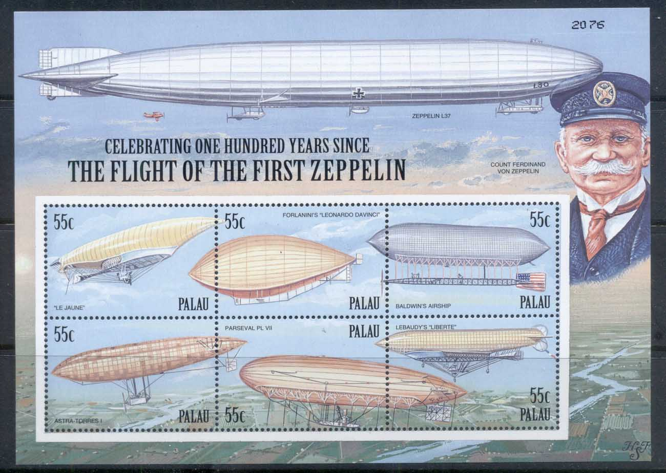Palau 2000 Zeppelin Flight Cent. MS MUH