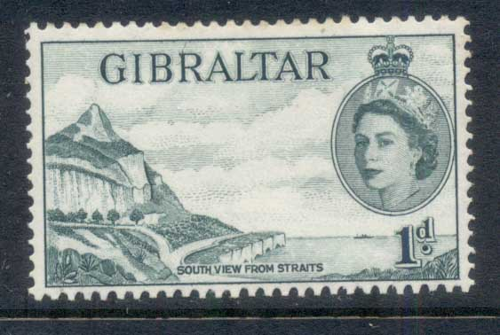Gibraltar 1953 QEII Pictoriuals, Southview from Straits 1d MLH