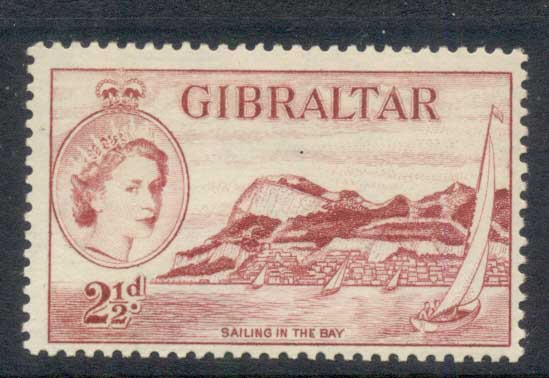Gibraltar 1953 QEII Pictoriuals, Sailing in the Bay 2 ?d MLH