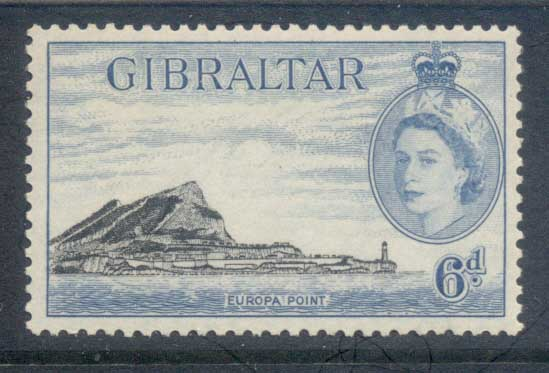 Gibraltar 1953 QEII Pictoriuals, Europa Point 6d MLH
