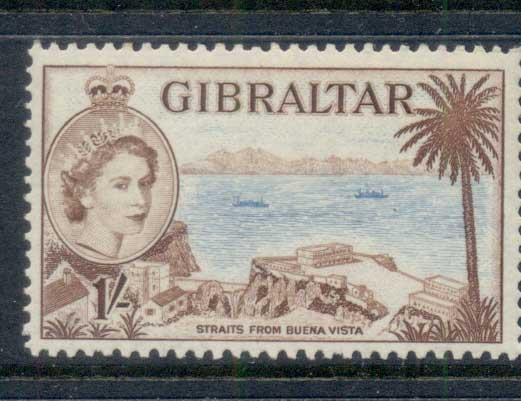 Gibraltar 1953 QEII Pictoriuals, Straits from Buena Vista 1/- MLH