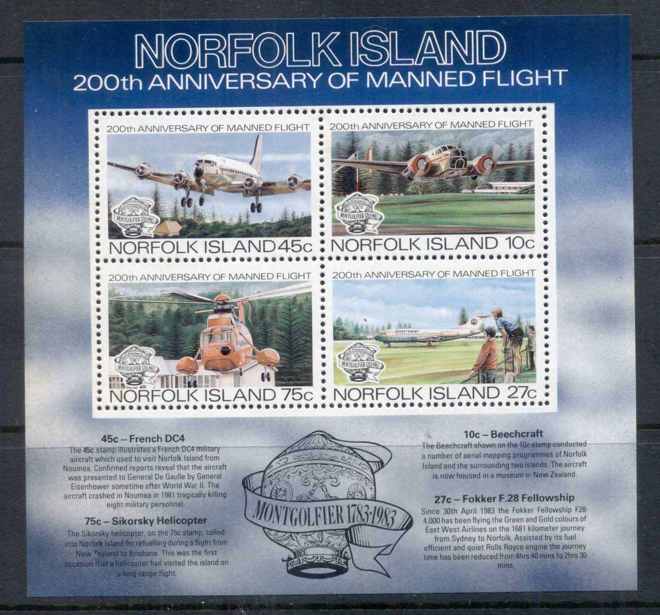 Norfolk Is 1983 Manned Flight Bicentenary MS MUH