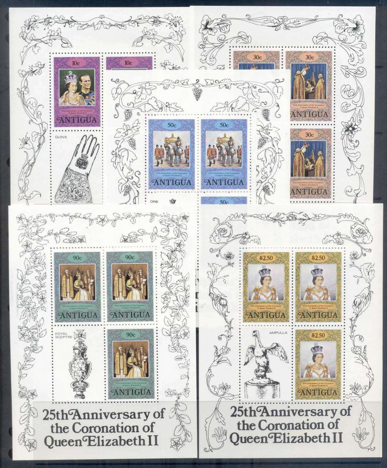 Antigua 1978 QEII Coronation 25th Anniversary 5x sheetlets MUH