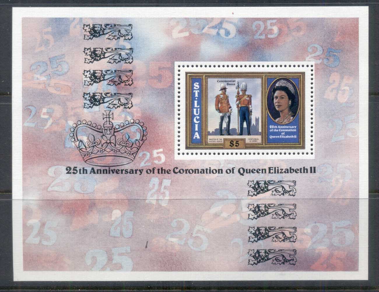 St Lucia 1978 QEII Coronation 25th Anniversary MS MUH