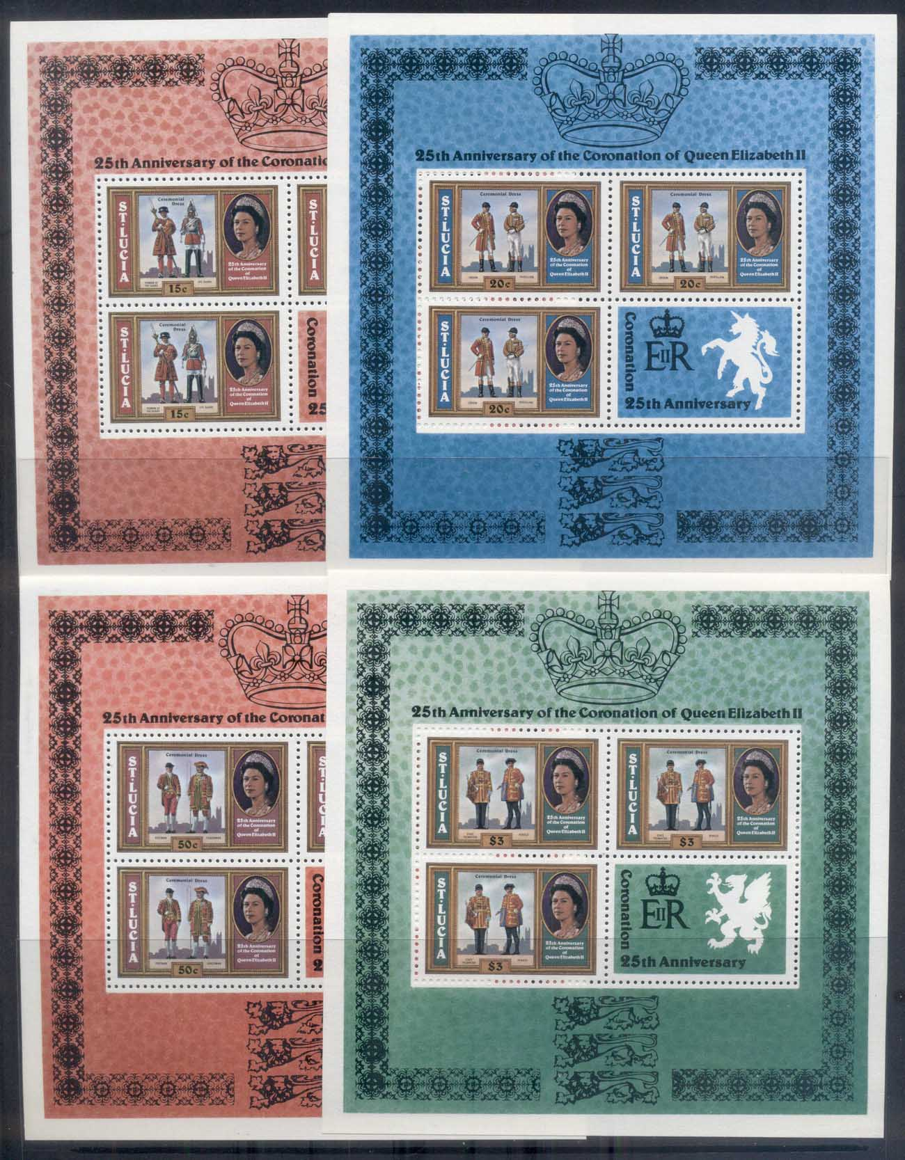 St Lucia 1978 QEII Coronation 25th Anniversary 4xsheetlets MUH