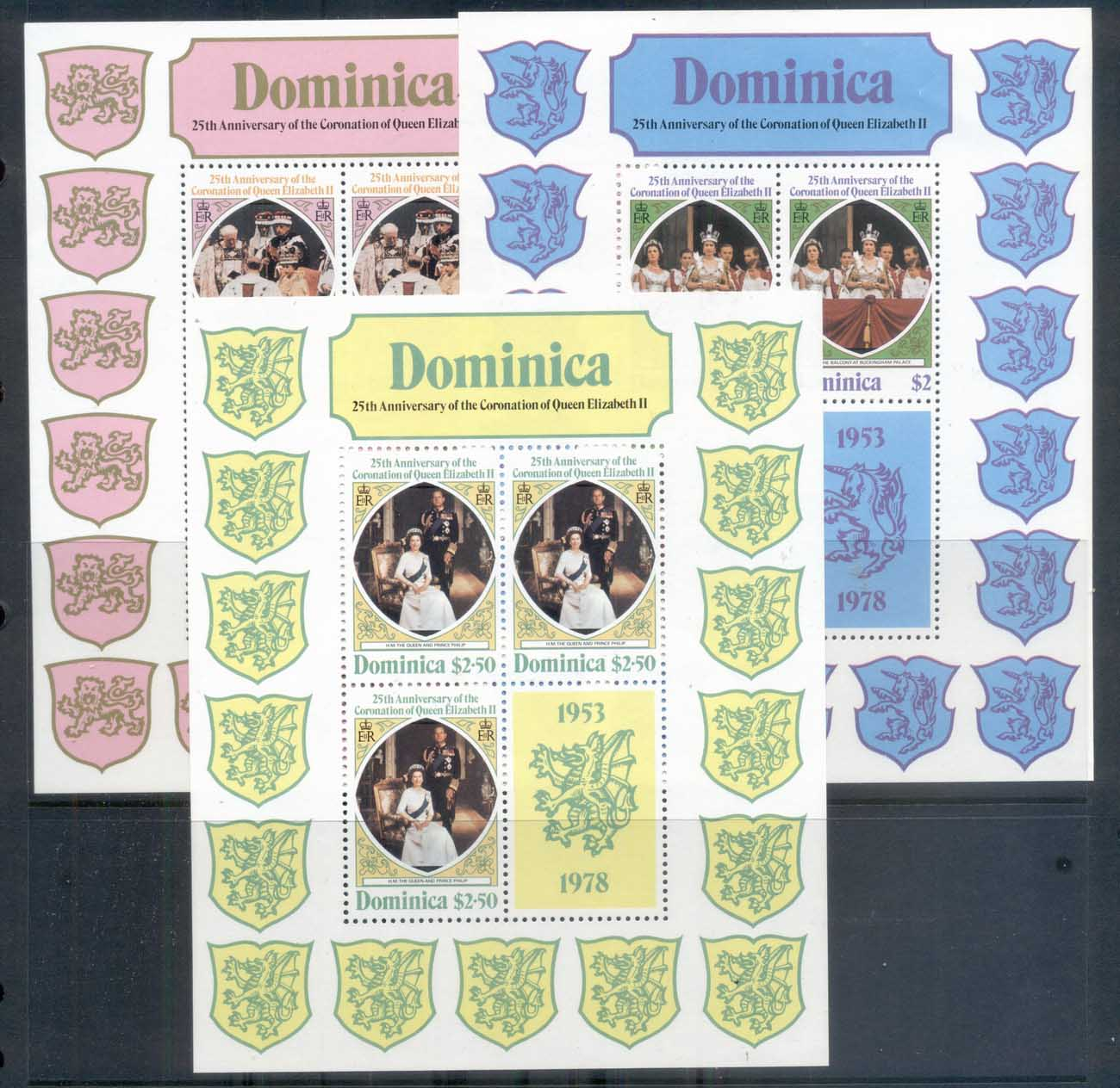 Dominica 1978 QEII Coronation 25th Anniversary 3xsheetlet MUH