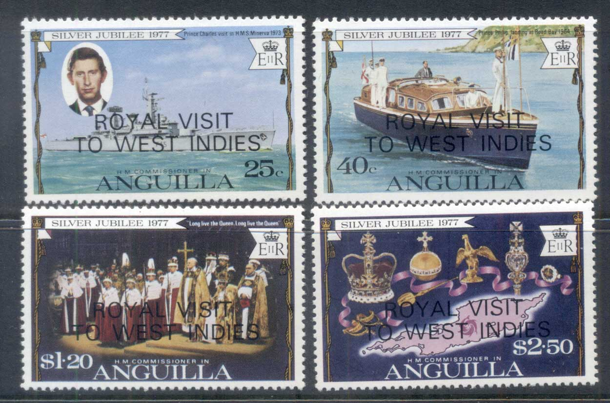 Anguilla 1977 QEII Silver Jubilee Opt. Royal Visit MUH
