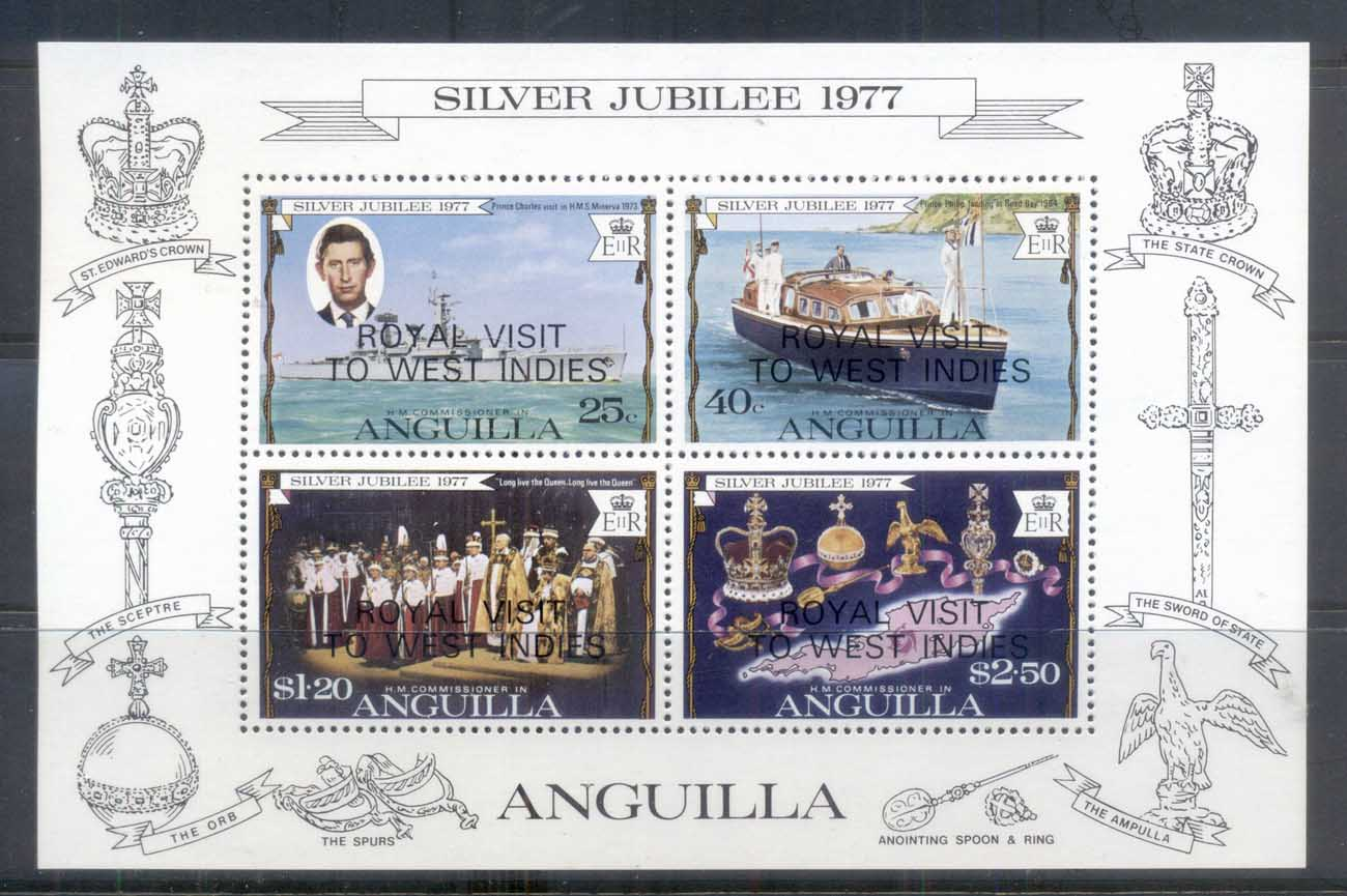 Anguilla 1977 QEII Silver Jubilee Op.t Royal Visit MS MUH