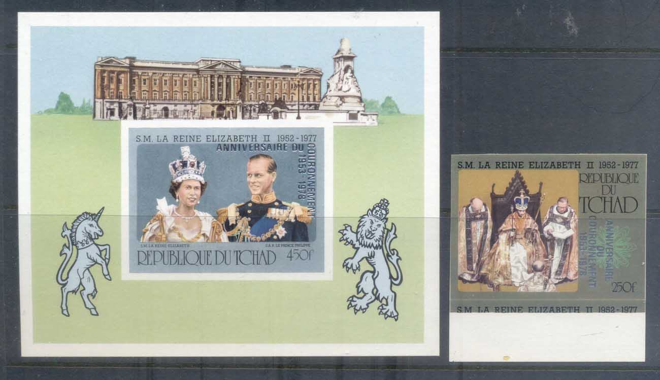 Chad 1978 QEII Silver Jubilee Opt QEII Coronation 25th Anniversary +MS IMPERF MUH