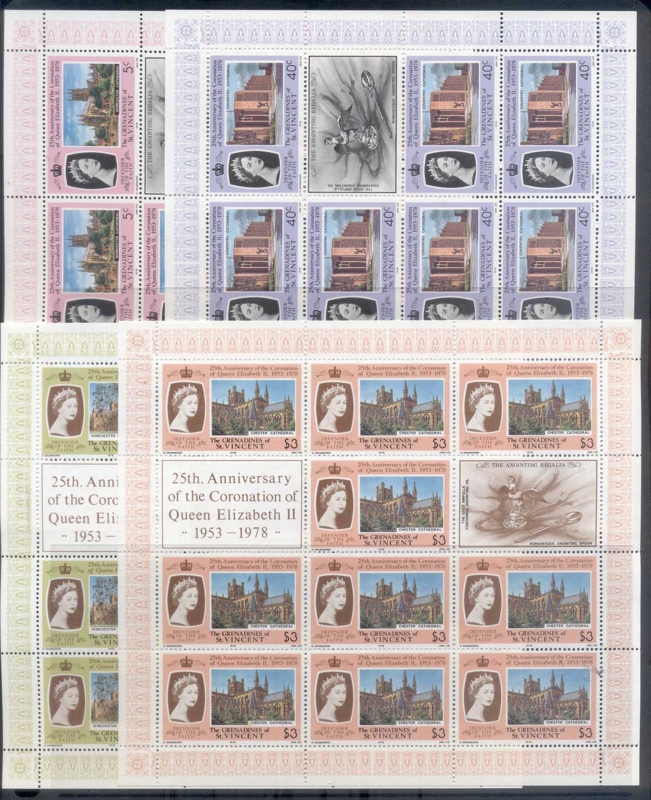St Vincent Grenadines 1978 QEII Coronation 25th Anniversary 4x sheetlets MUH
