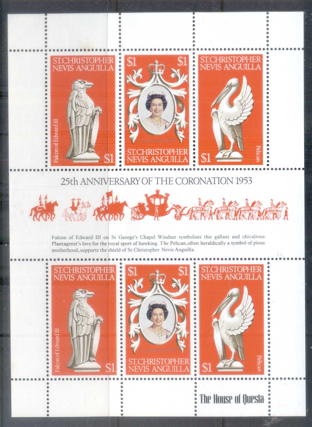 St Christopher Nevis Anguilla 1978 QEII Coronation 25th Anniversary MS MUH