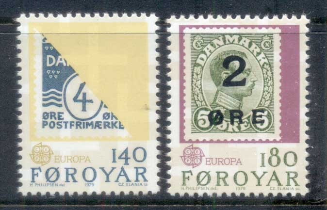 Faroe Is 1979 Europa, Stamp on Stamp MUH