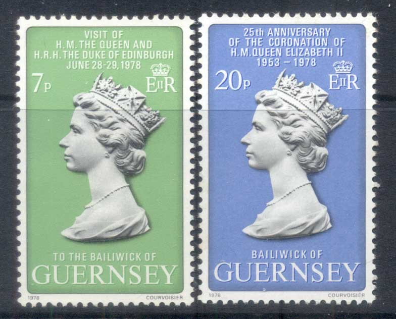 Guernsey 1978 QEII Coronation 25th Anniv, Royal Visit MUH
