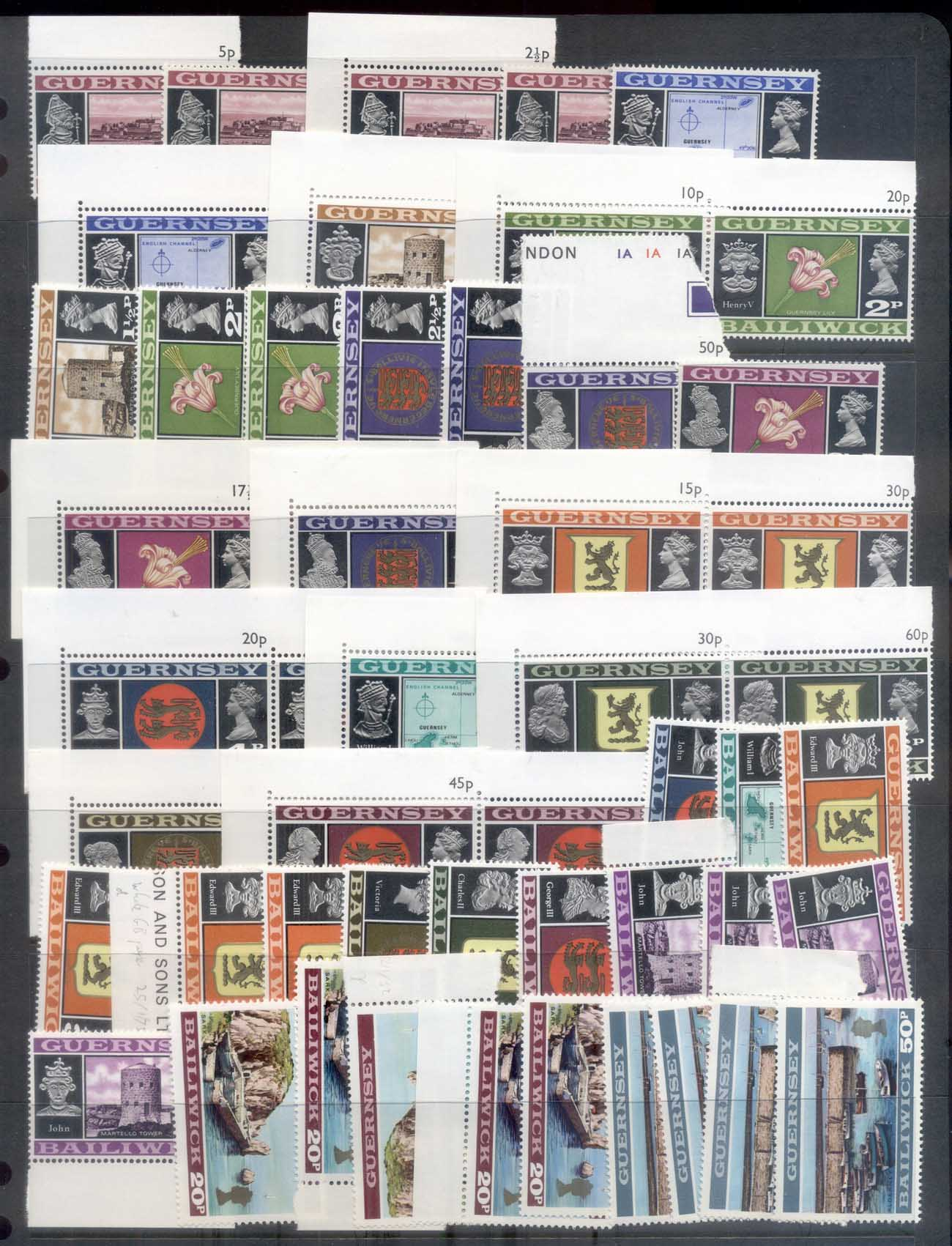 Guernsey 1971 QEII Pictorials, Views, Assorted Oddments MUH