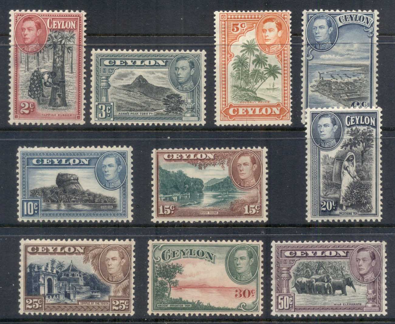 Ceylon 1938-52 KGVI Pictorials to 50c (disturbed gum)MLH