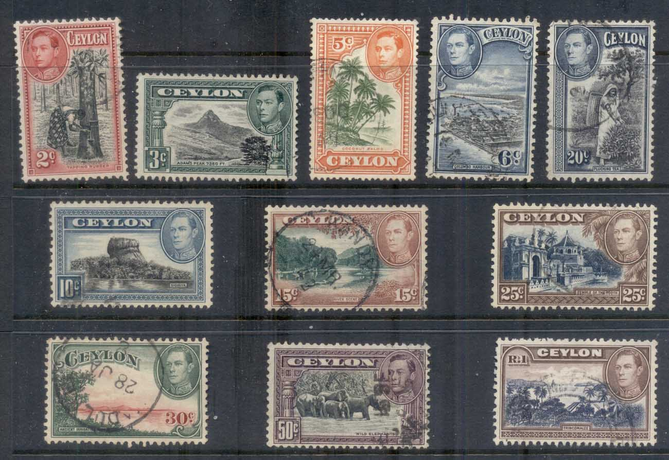 Ceylon 1938-52 KGVI Pictorials to 1RFU