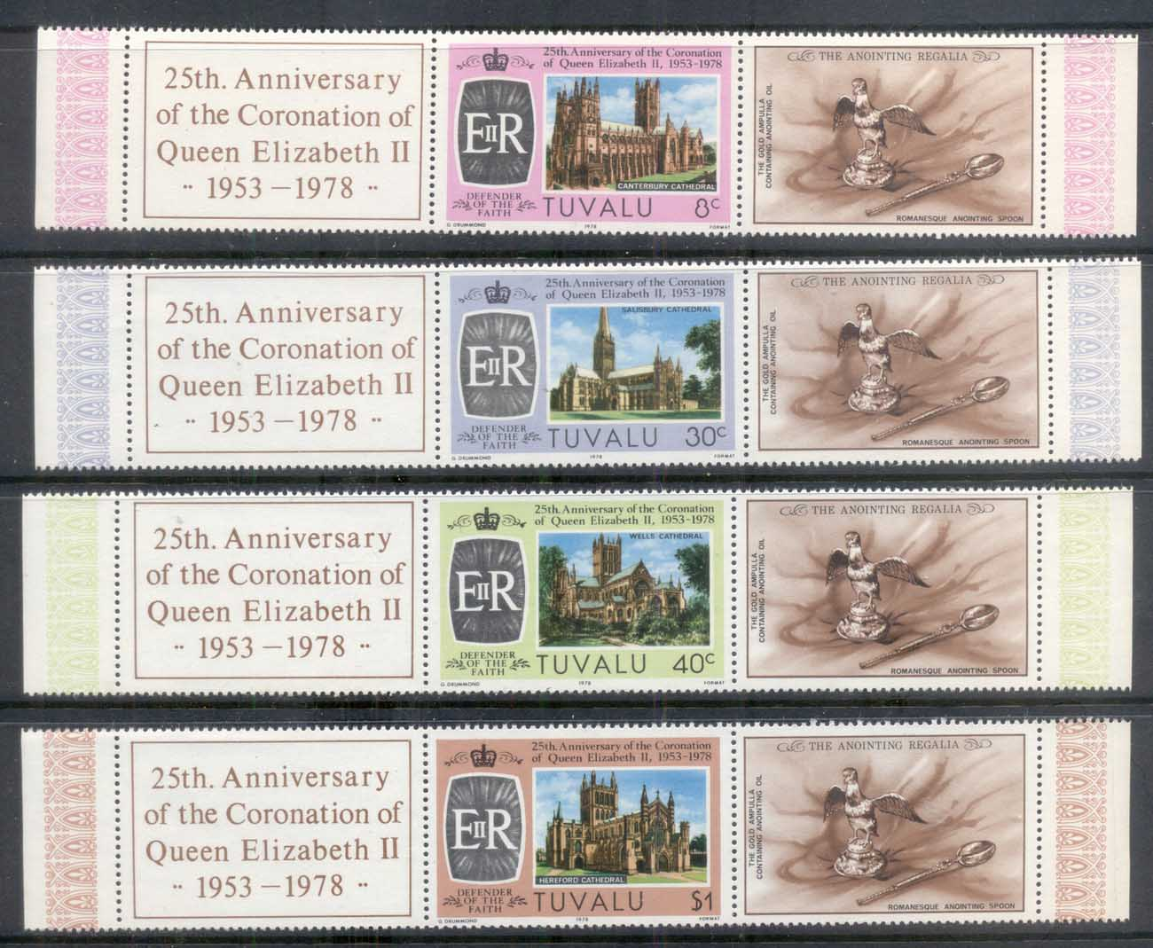 Tuvalu 1978 QEII Coronation 25th Anniv. + labels MUH
