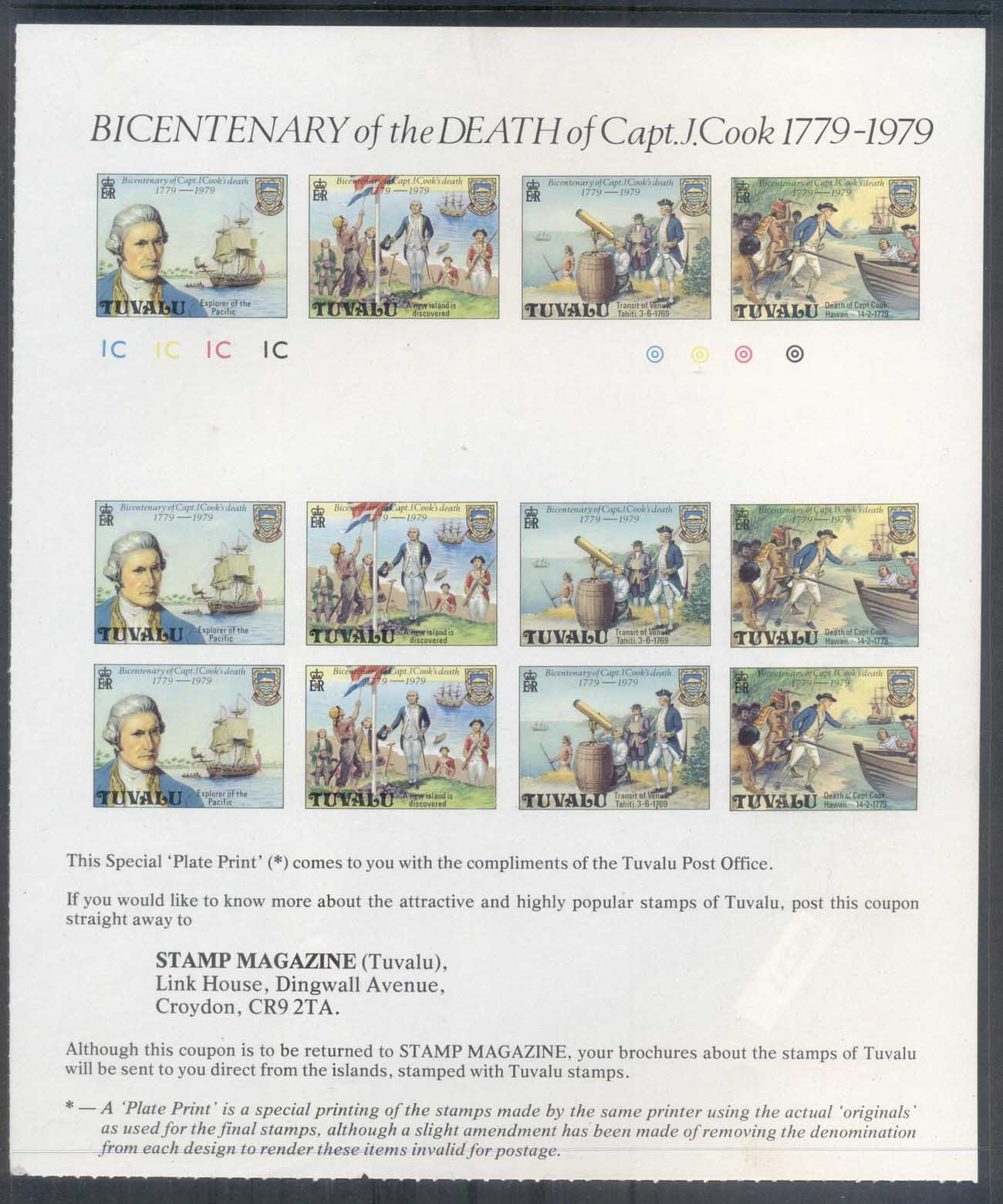"Tuvalu 1979 Capt. Cook Death Bicentenary IMPERF ""Plate Print""sheetlet MUH"