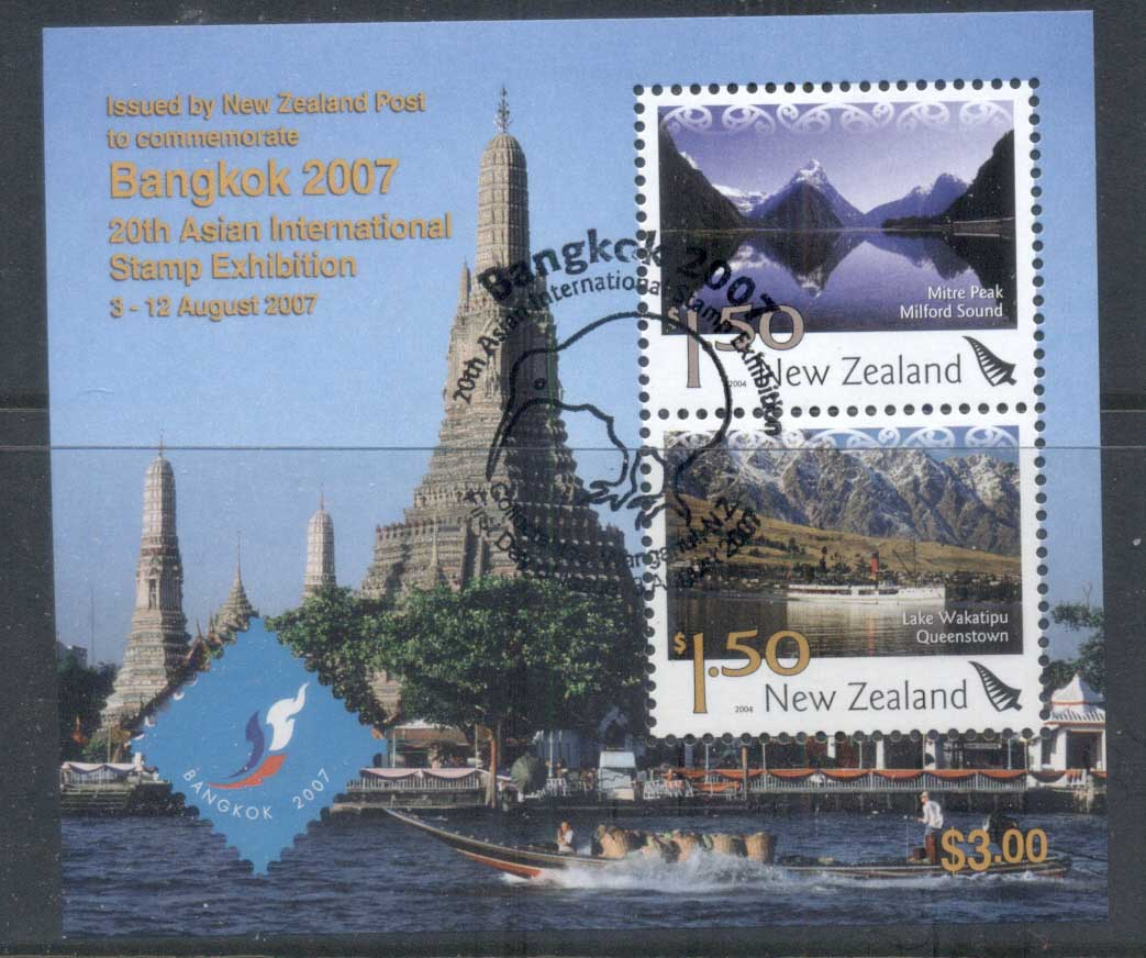 New Zealand 2007 Pictorials, Scenic, Bangkok 2007 Stamp Ex MS CTO/FDI