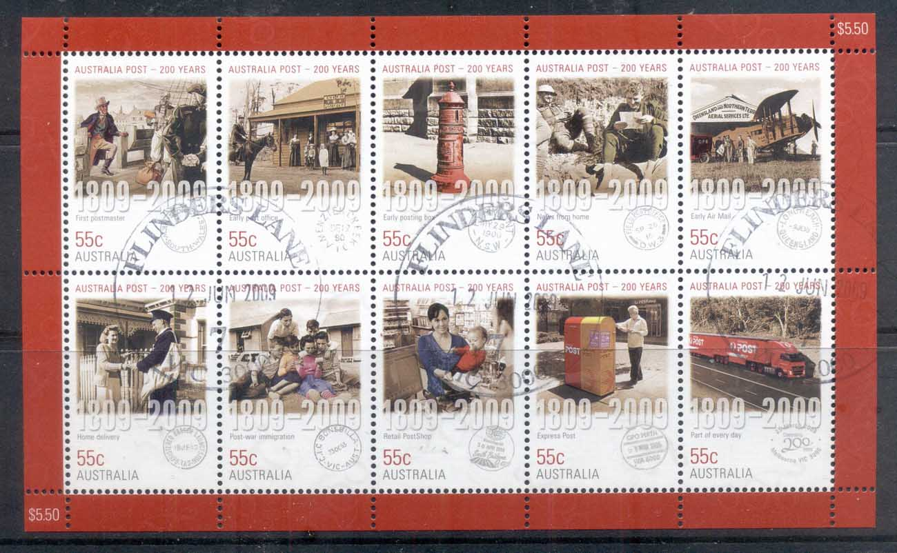 Australia 2009 Australia Post 200 Years sheetlet FU
