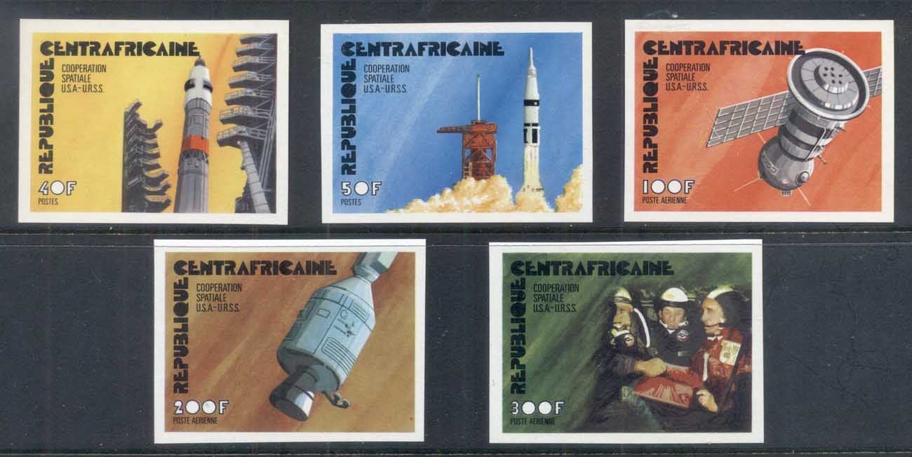 Central African Republic 1975 Apollo-Soyuz Joint Russia/USA Space Project IMPERF MUH