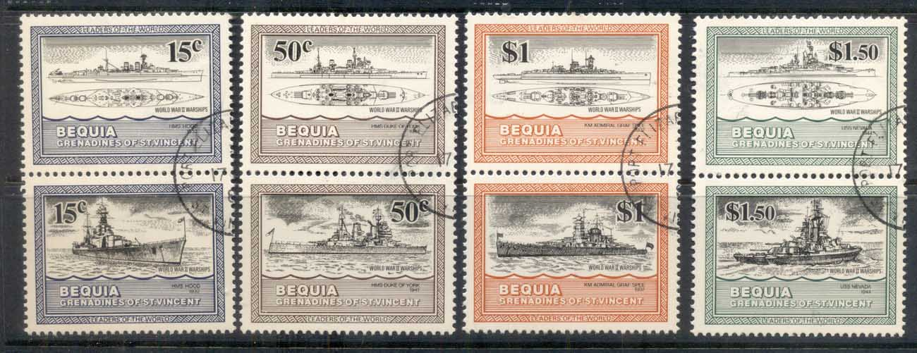St Vincent Bequia 1985 WWII Warships prs CTO