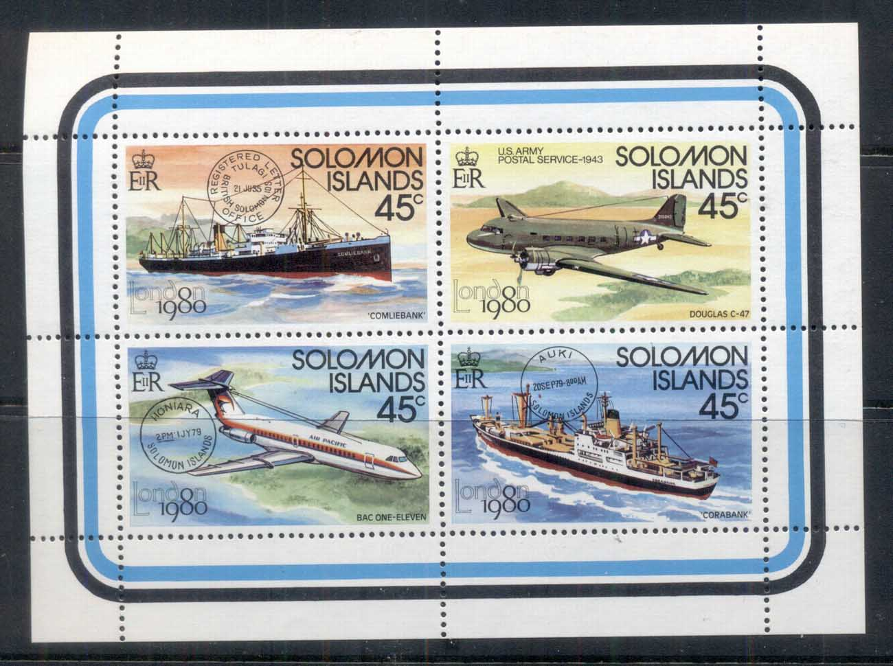 Solomon Is 1980 London '80 Stamp Ex, Ship, Plane MS MUH