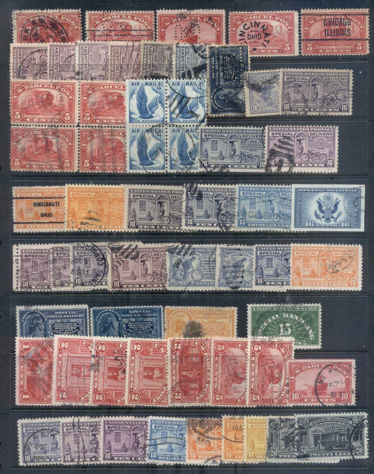 USA Back of Book, Assorted Oddments, Air Mail, Express, Postage Dues 12 scans