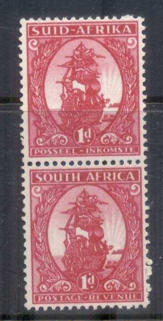 South Africa 1943 Pictorial, 1d coil pr MLH