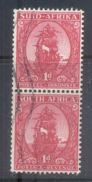 South Africa 1943 Pictorial, 1d coil pr FU