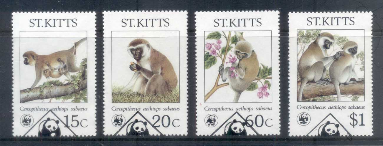 St Kitts 1986 WWF Green Monkey FU