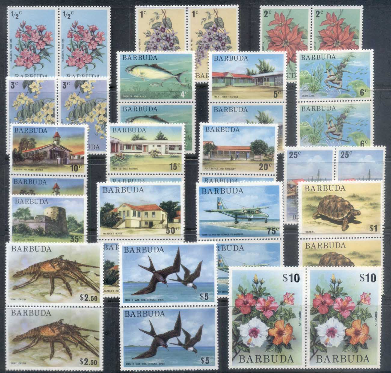 Barbuda 1974-75 Pictorials, Flowers, Views pr MUH