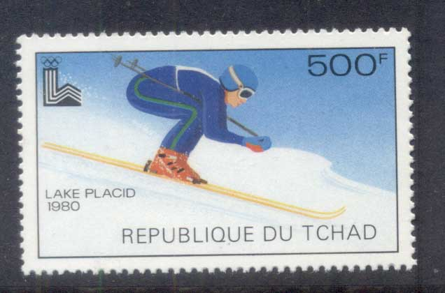 Chad 1979 Winter Olympics Lake Placid , skiier 500f MUH