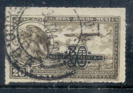 Mexico 1932 30c on 20c Airmail, Eagle & Plane FU