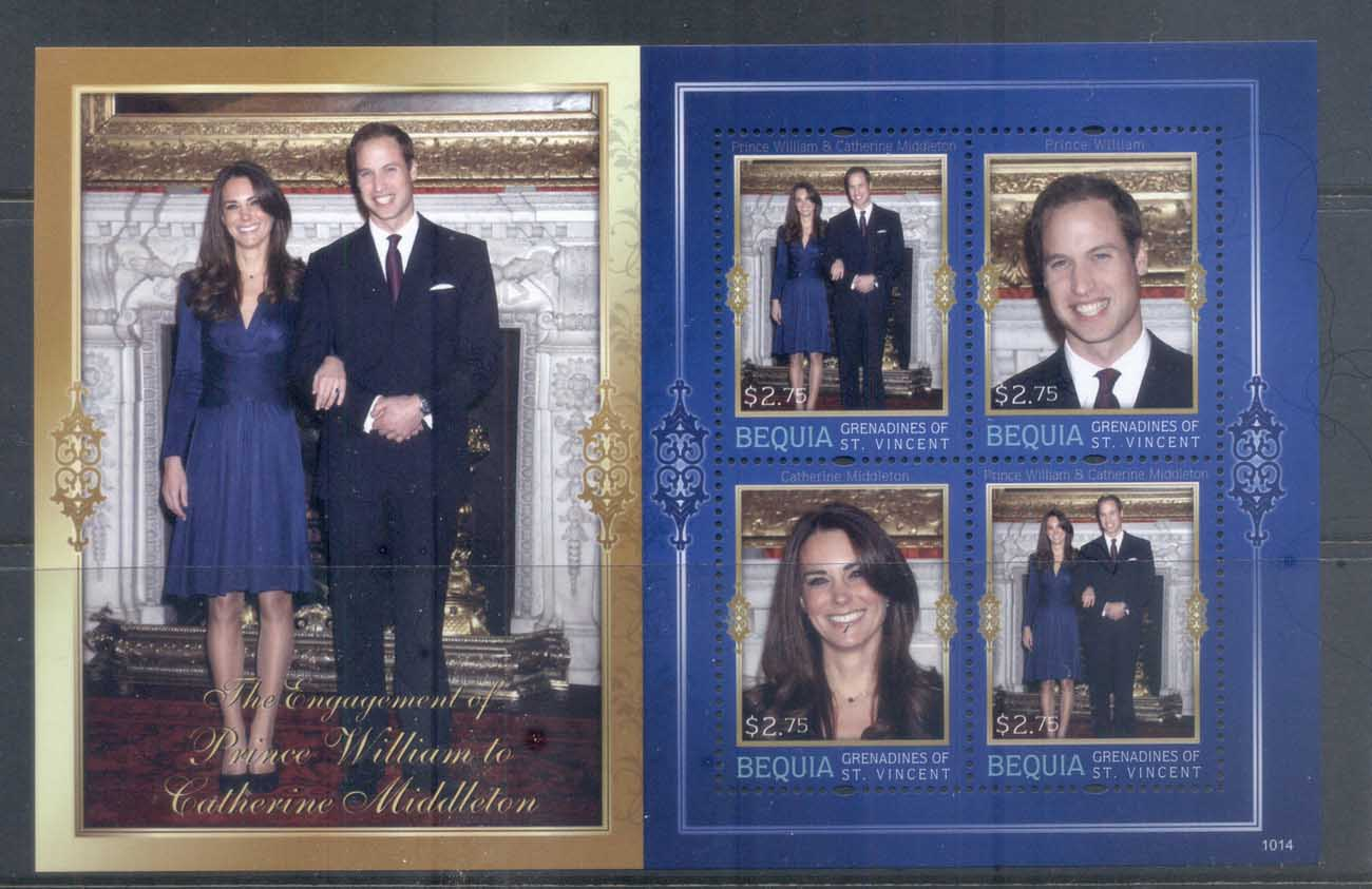 St Vincent Bequia 2011 Royal Engagement William & Kate #1014 $2.75 MS MUH