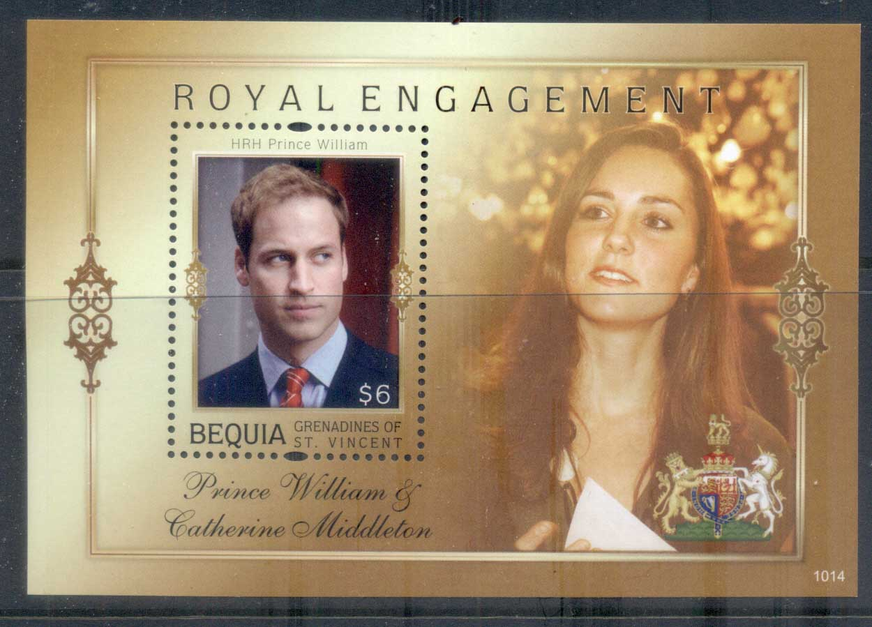 St Vincent Bequia 2011 Royal Engagement William & Kate #1014 $6 MS MUH