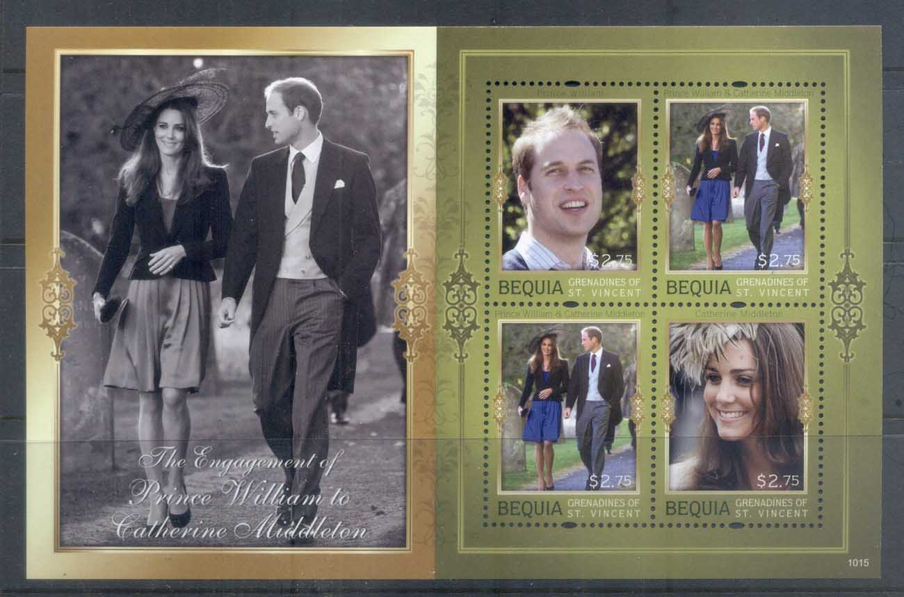 St Vincent Bequia 2011 Royal Engagement William & Kate #1015 $2.75 MS MUH