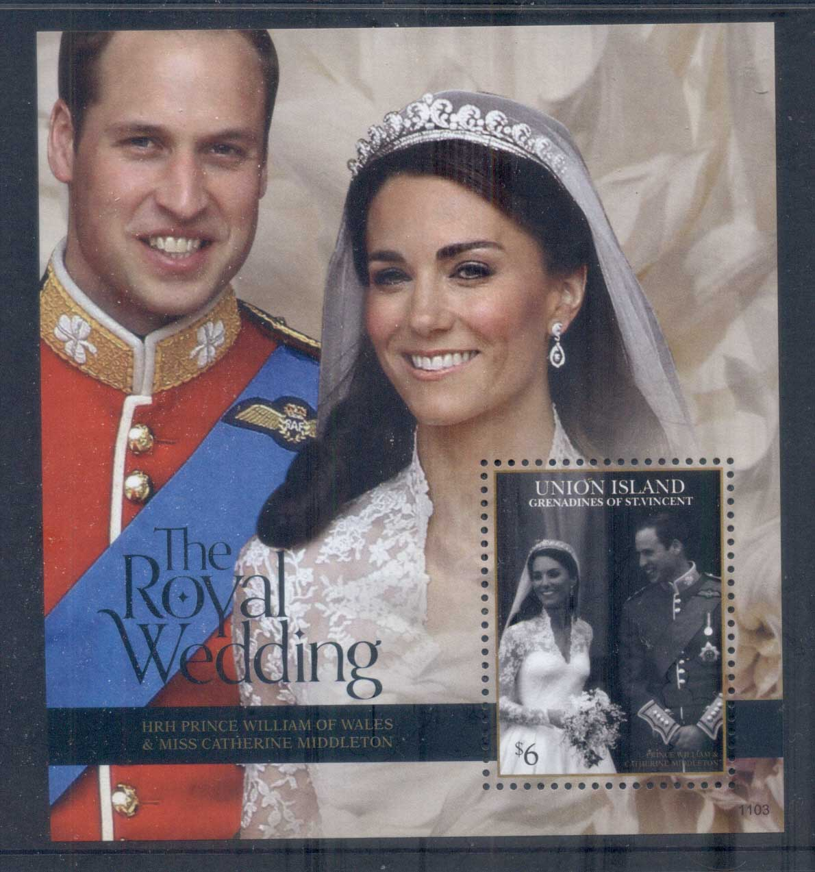 St Vincent Union Is 2011 Royal Wedding William & Kate #1103 $6 MS MUH