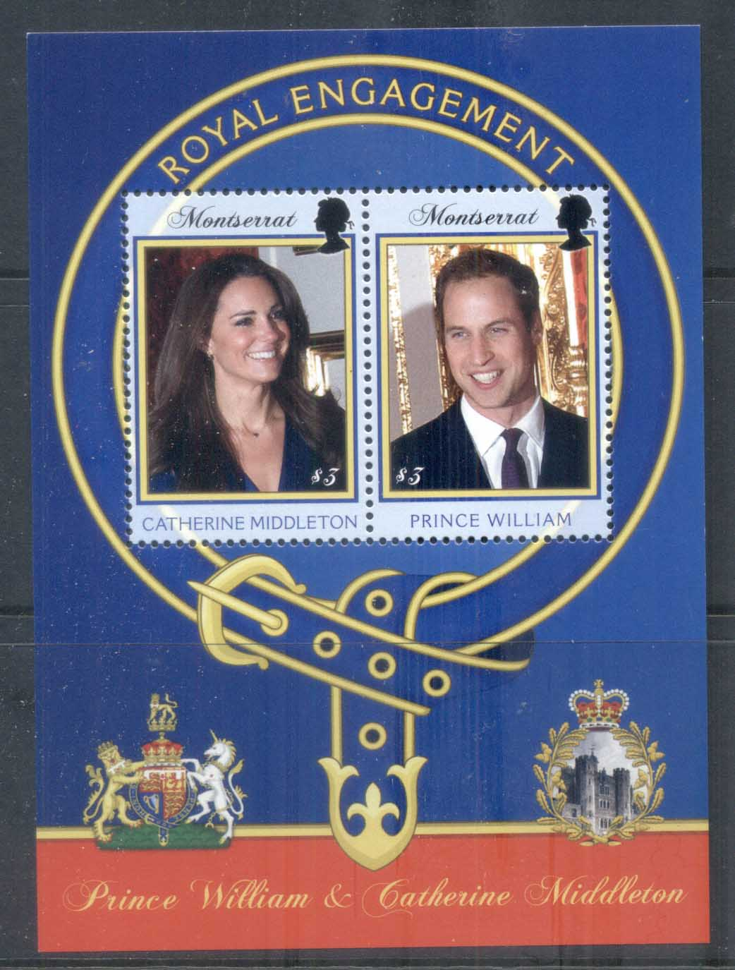Montserrat 2011 Royal Engagement William & Kate $3 MS MUH