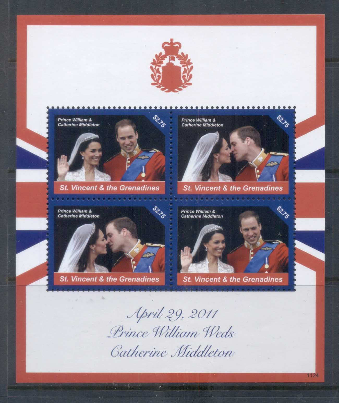 St Vincent Grenadines 2011 Royal Wedding William & Kate #1124 $2.75 MS MUH