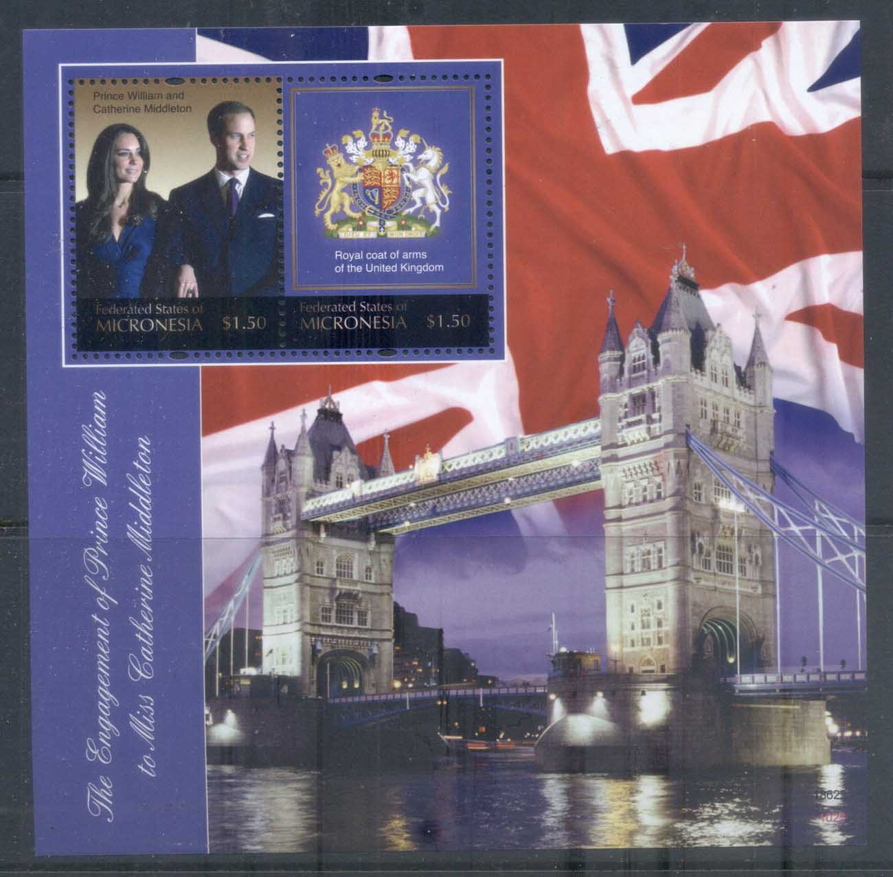 Micronesia 2011 Royal Engagement William & Kate #1025 $1.50 MS MUH