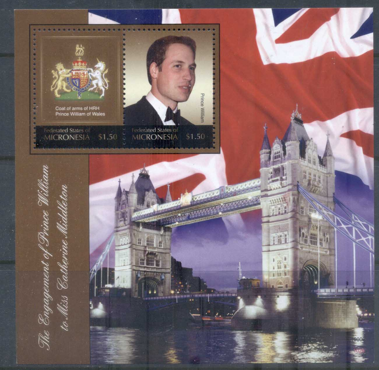 Micronesia 2011 Royal Engagement William & Kate #1026 $1.50 MS MUH