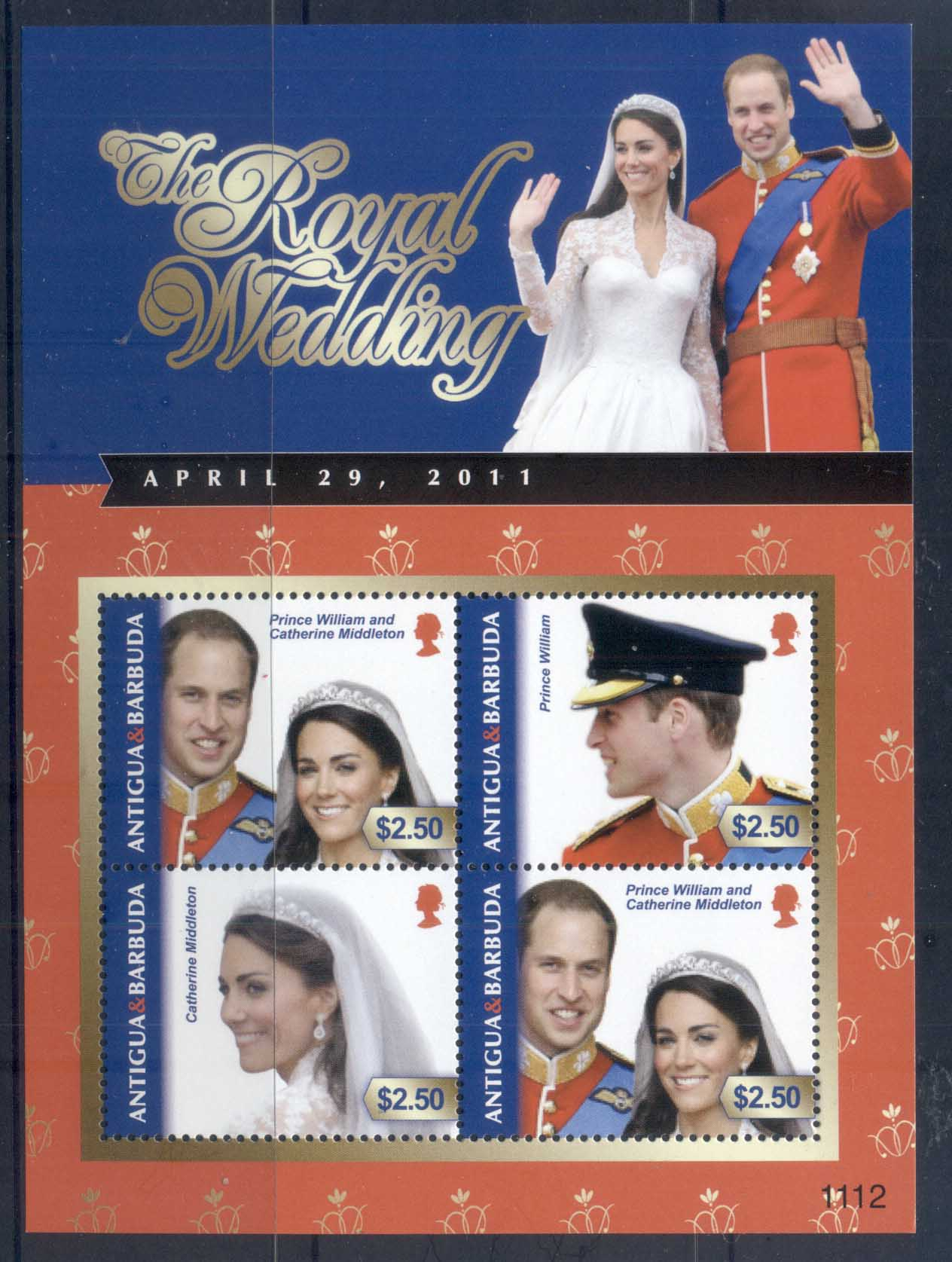 Antigua & Barbuda 2011 Royal Wedding William & Kate #1112 $2.50 MS MUH