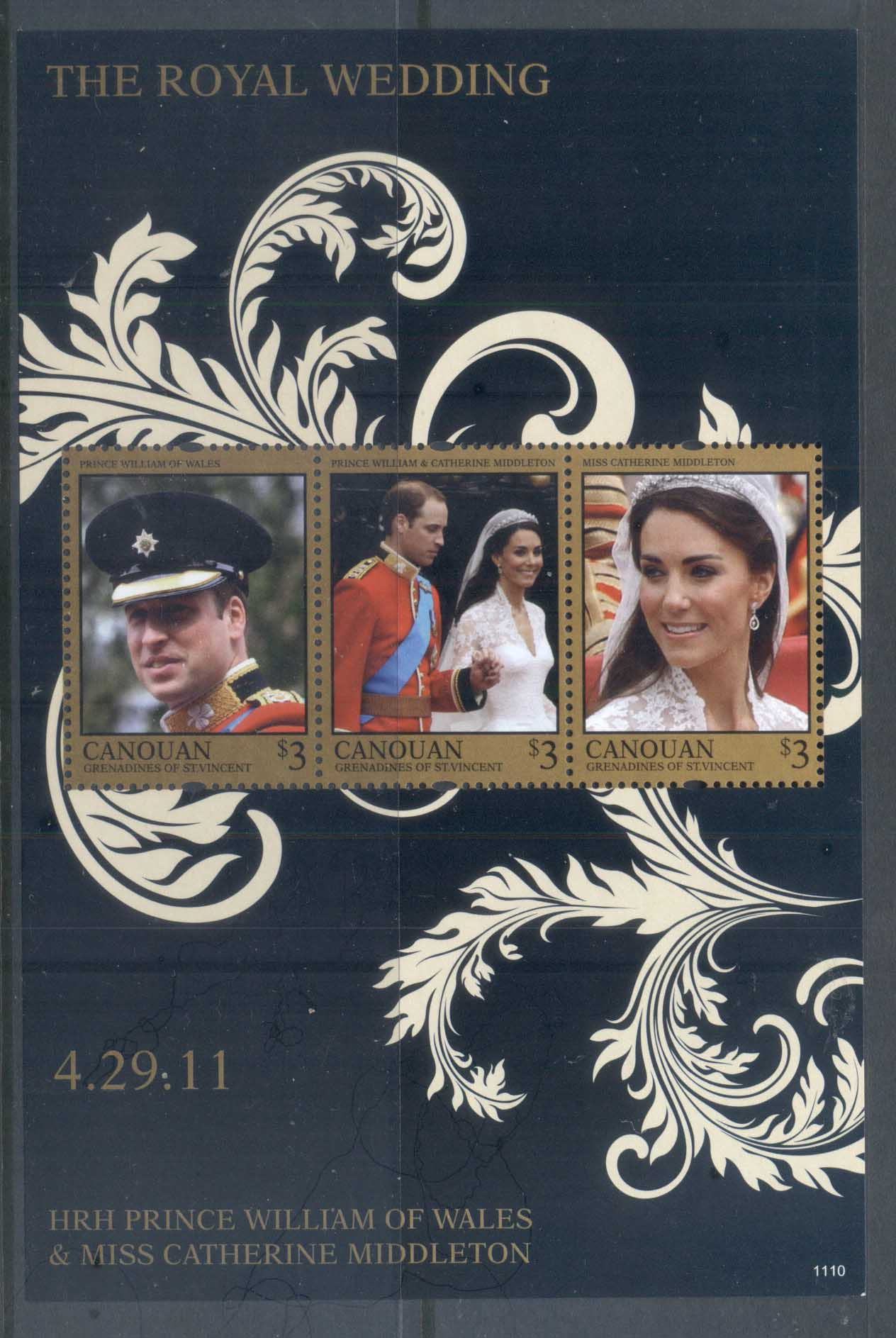 St Vincent Canouan 2011 Royal Wedding William & Kate #1110 $3 MS MUH