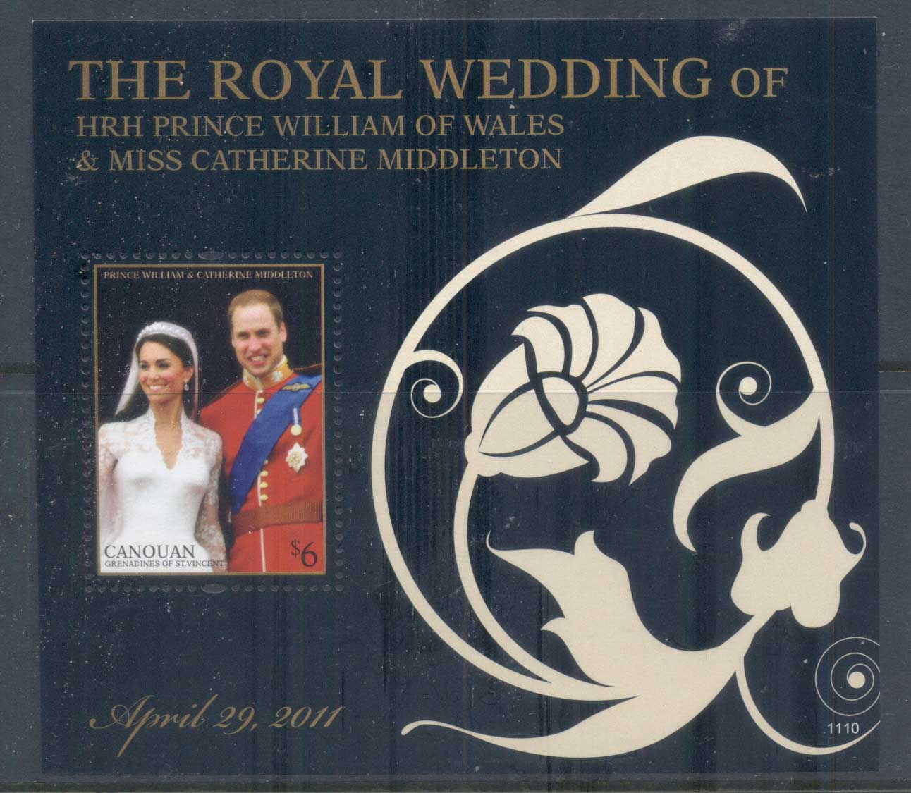 St Vincent Canouan 2011 Royal Wedding William & Kate #1110 $6 MS MUH