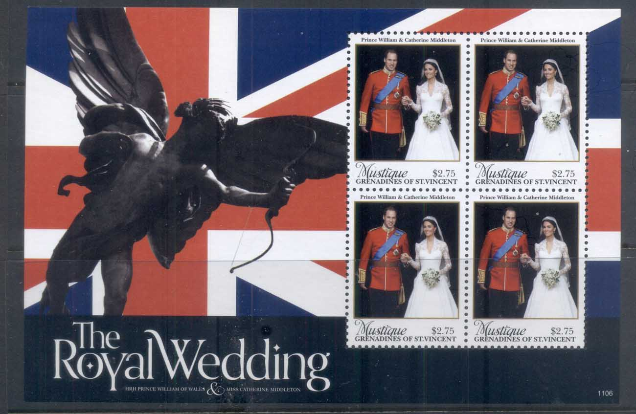 St Vincent Mustique 2011 Royal Wedding William & Kate #1106 $2.75 MS MUH