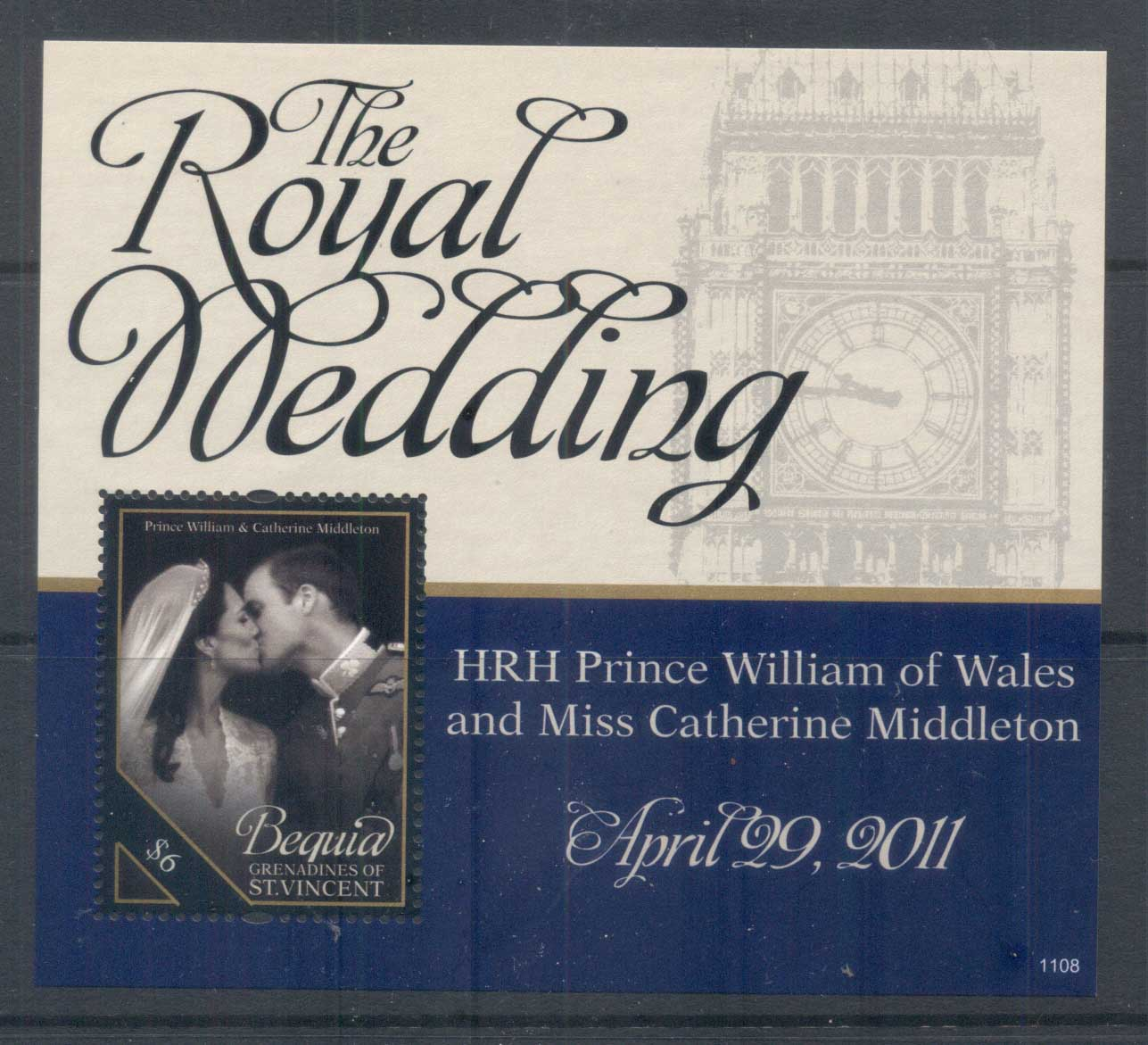 St Vincent Bequia 2011 Royal Wedding William & Kate #1108 $6 MS MUH