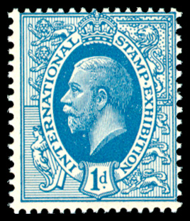 GB 1912 Exhibition: Ideal KGV Design P15x14 1d blue.