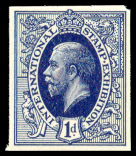 GB 1912 Exhibition: Ideal KGV Design Imperforate 1d deep purple.